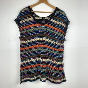 Free People New Romantics Rainbow Crochet Top L